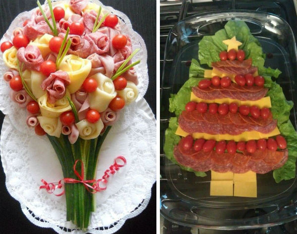 Bouquet and Christmas tree made of cheese and sausages photo