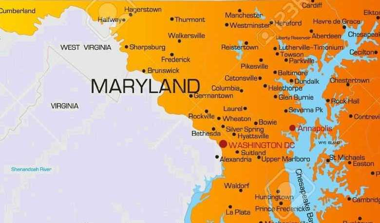 HD Decor Images » Map of MaryLand   State Map of USA   United States Maps Coming to the adjacent states or territories of this state  there are  Pennsylvania  Virginia  district of Columbia  Delaware  west Virginia