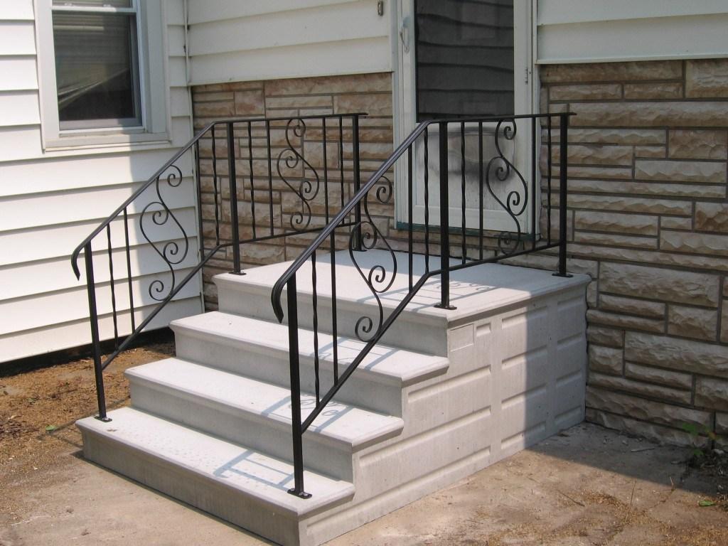 Precast Concrete Steps In Chicago Il – Unit Step Company   Outdoor Railings For Concrete Steps   Front Porch   Concrete Slab   Railing Ideas   Steel Handrail   Brick