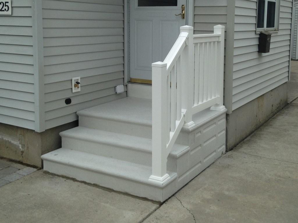 Photo Gallery Precast Concrete Steps And Iron Vinyl Railing | Wood Railing On Concrete Steps | Stair Railing | Diy | Wooden | Railing Mode | Staircase