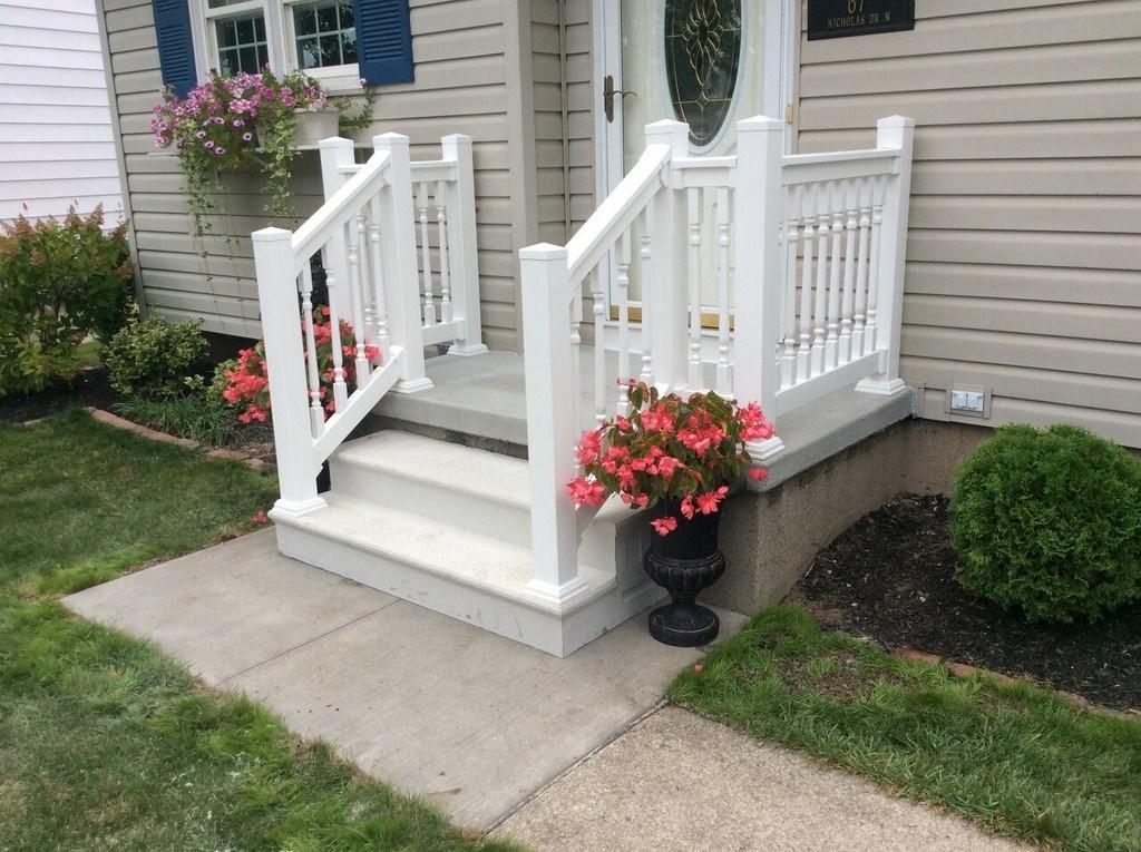 Photo Gallery Precast Concrete Steps And Iron Vinyl Railing   Vinyl Railing For Steps   Plastic   Leadvision   Exterior   2 Step   Front Door