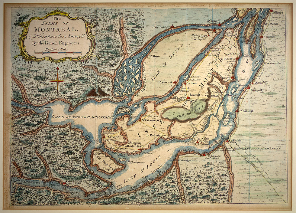 Lachine Canal   Wikipedia     map titled  The isles of Montreal  As they have been surveyed by the  french engineers   1761