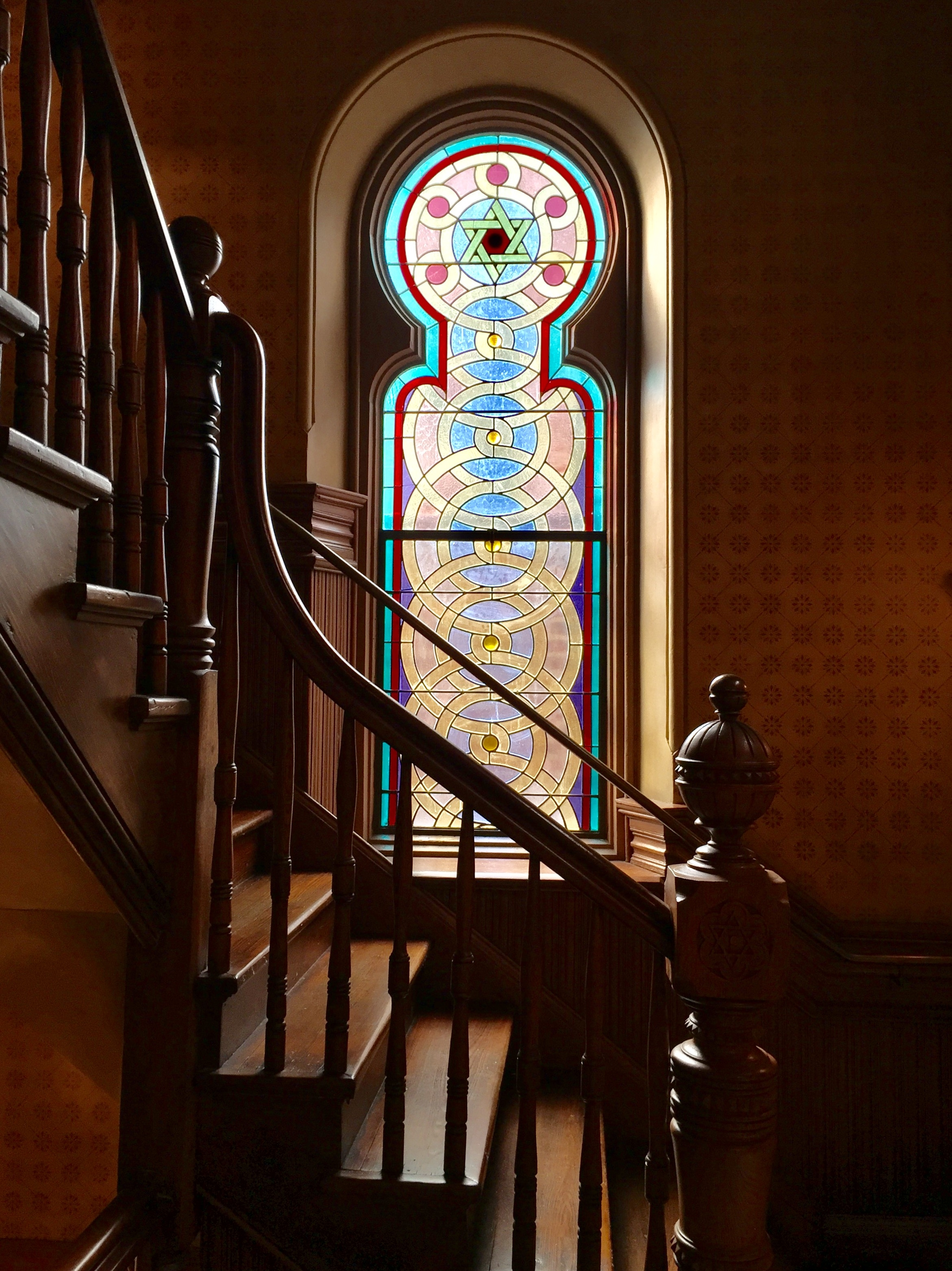 File 1 Pane Stained Glass Staircase Window Eldridge Street   Staircase Window Glass Design   Geometric   Architecture   Flower   Residential   Glass Brick