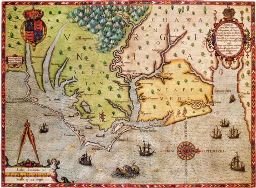 File Map of Virginia  Theodorus de Bry  1591 jpg   Wikimedia Commons File Map of Virginia  Theodorus de Bry  1591 jpg