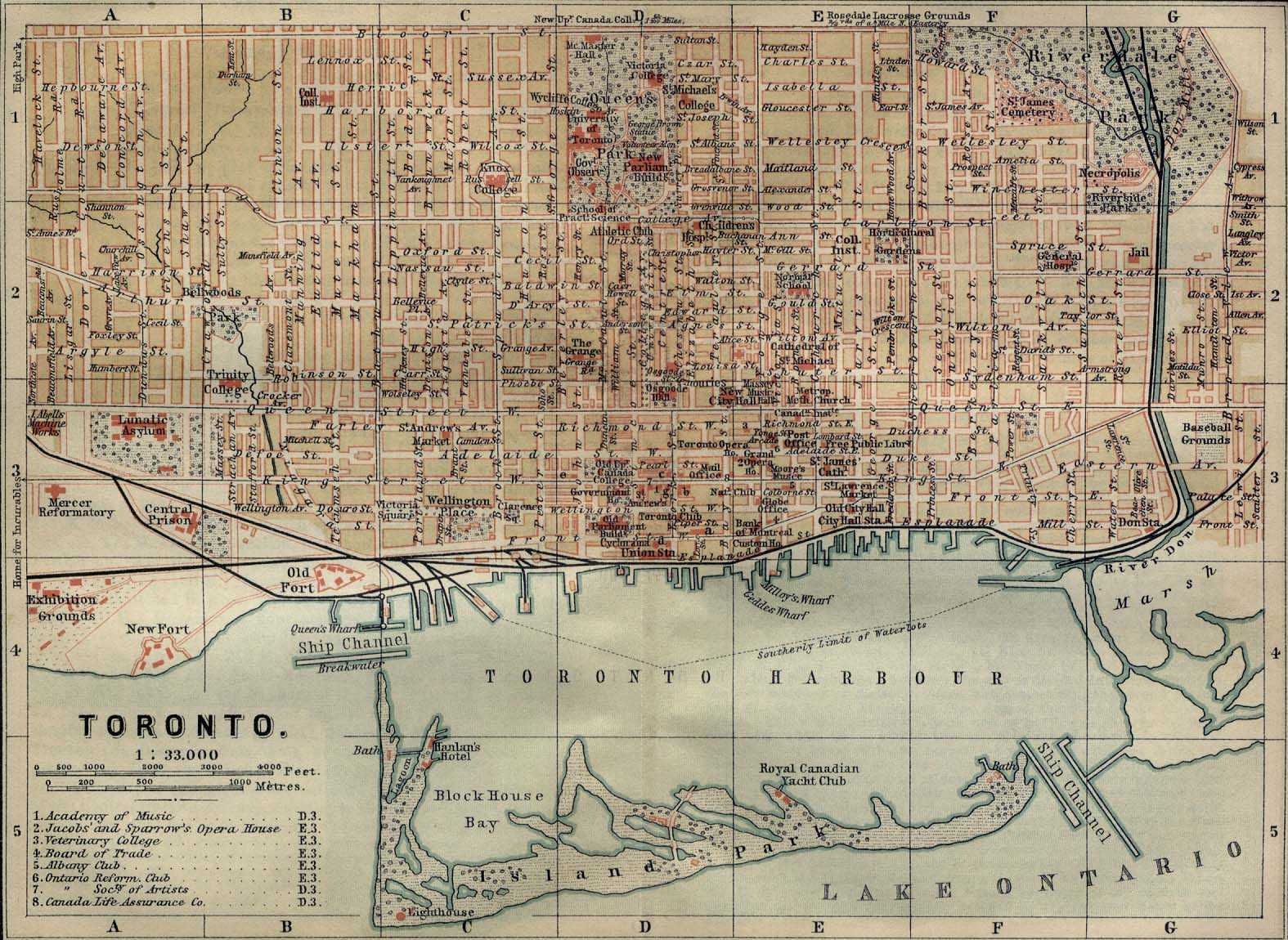 Map  Toronto in 1894 Labels  late 1800s  map