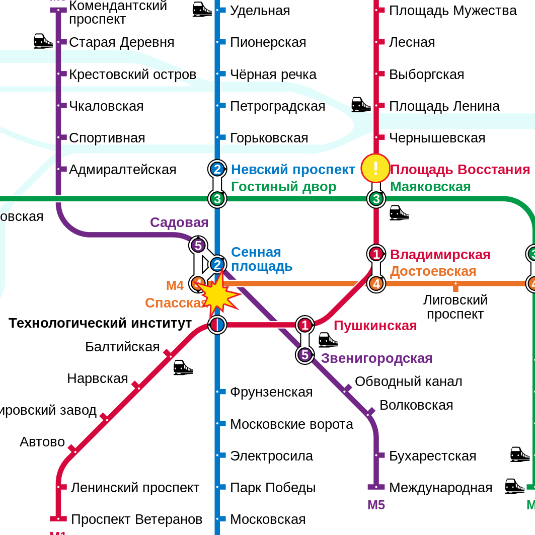 Petersburg 2017 Metro Russia Map St English