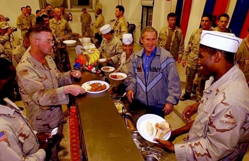 Thanksgiving  United States    Wikipedia U S  President George W  Bush visits Iraq to have Thanksgiving dinner with  soldiers in November 2003