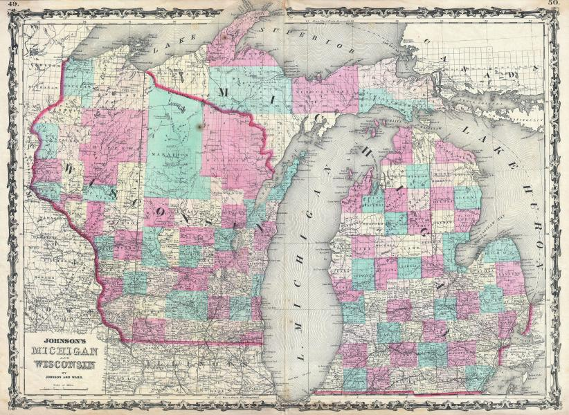 File 1862 Johnson Map of Michigan and Wisconsin   Geographicus     File 1862 Johnson Map of Michigan and Wisconsin   Geographicus    MIWI johnson