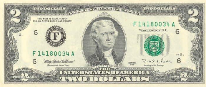 Us 5 Notes And 2 Dollar