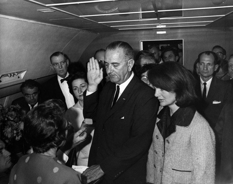 List of United States Presidential firsts   Wikipedia Following the assassination of John F  Kennedy  Lyndon B  Johnson became  the first President to be inaugurated on an airplane and the first President  to be