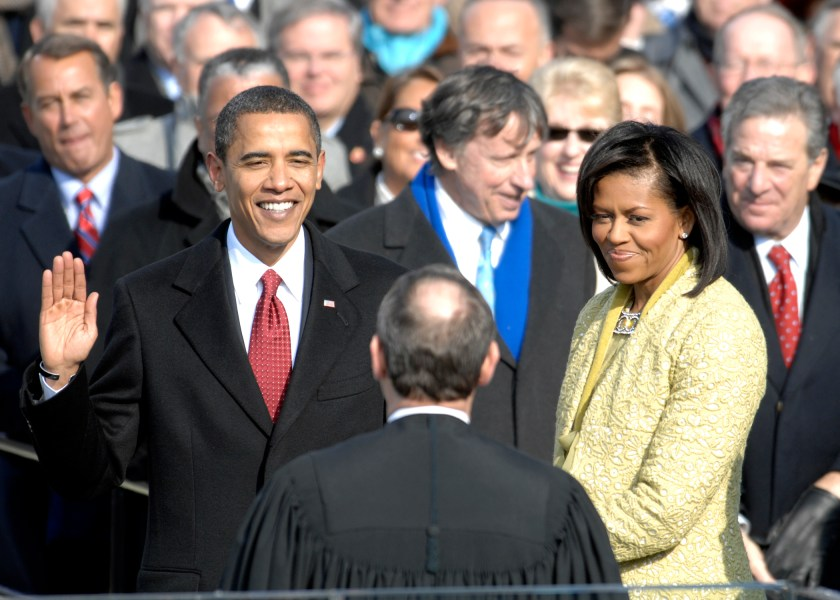 Barack Obama   Wikipedia Barack Obama takes the oath of office administered by Chief Justice John G   Roberts Jr  at the Capitol  January 20  2009