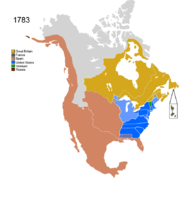 Territorial evolution of North America since 1763   Wikipedia Map showing Non Native Nations Claim over NAFTA countries c  1783