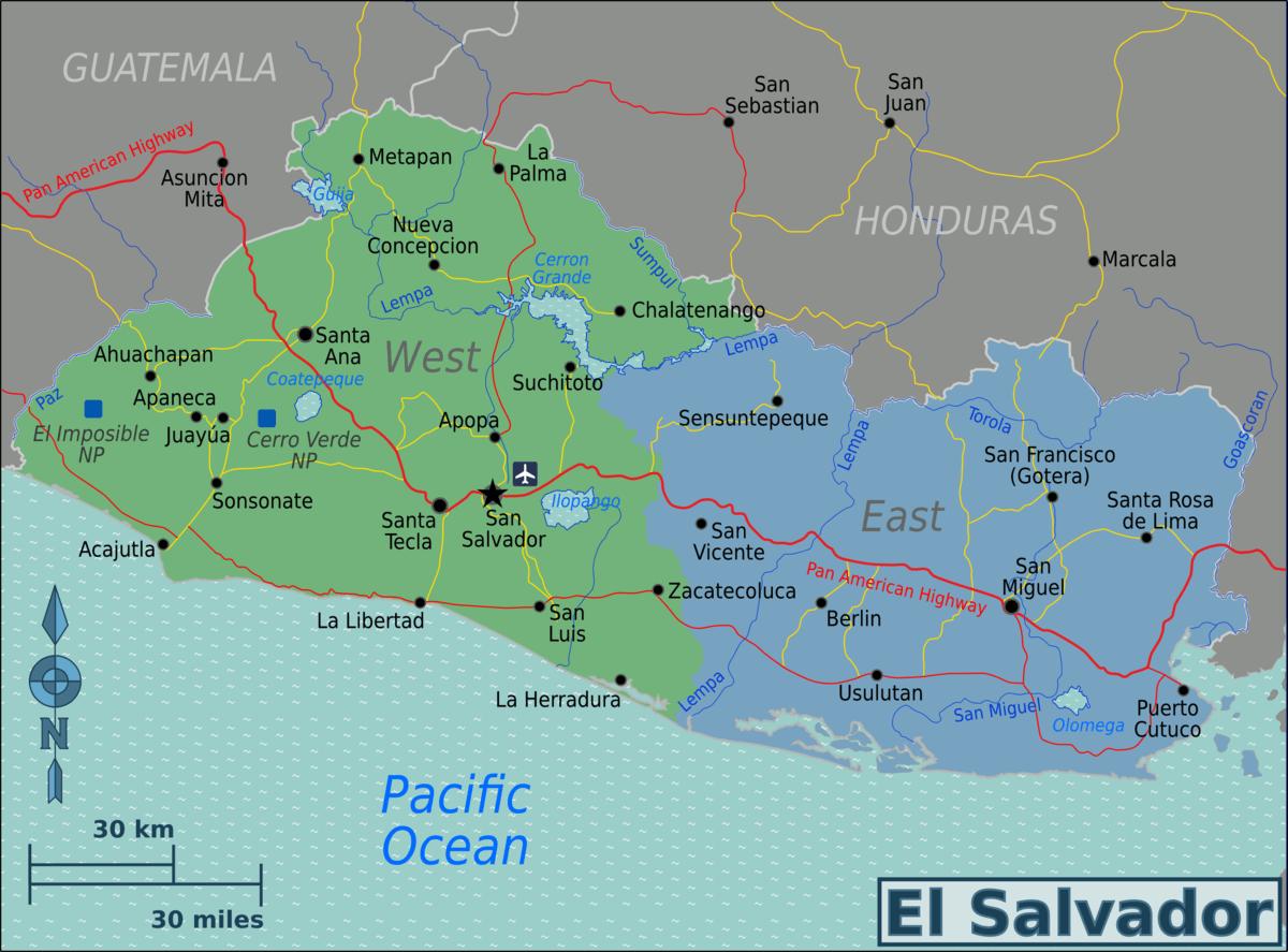 Destinations El Salvador map Advertisement el