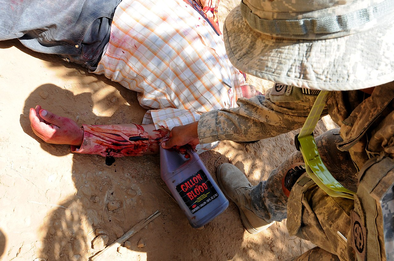 File U S Army Staff Sgt Donny Timas Pours Fake Blood On