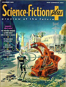 Hard science fiction   Wikipedia Frank R  Paul s cover for the last issue  December 1953  of Science Fiction  Plus