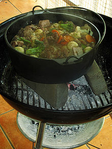 South African cuisine   Wikipedia Potjiekos  literally translated  small pot food   is a stew prepared  outdoors in a traditional round  cast iron  three legged pot