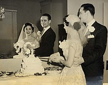 Wedding reception   Wikipedia The bride and groom cut the wedding cake at an American wedding reception  in 1955