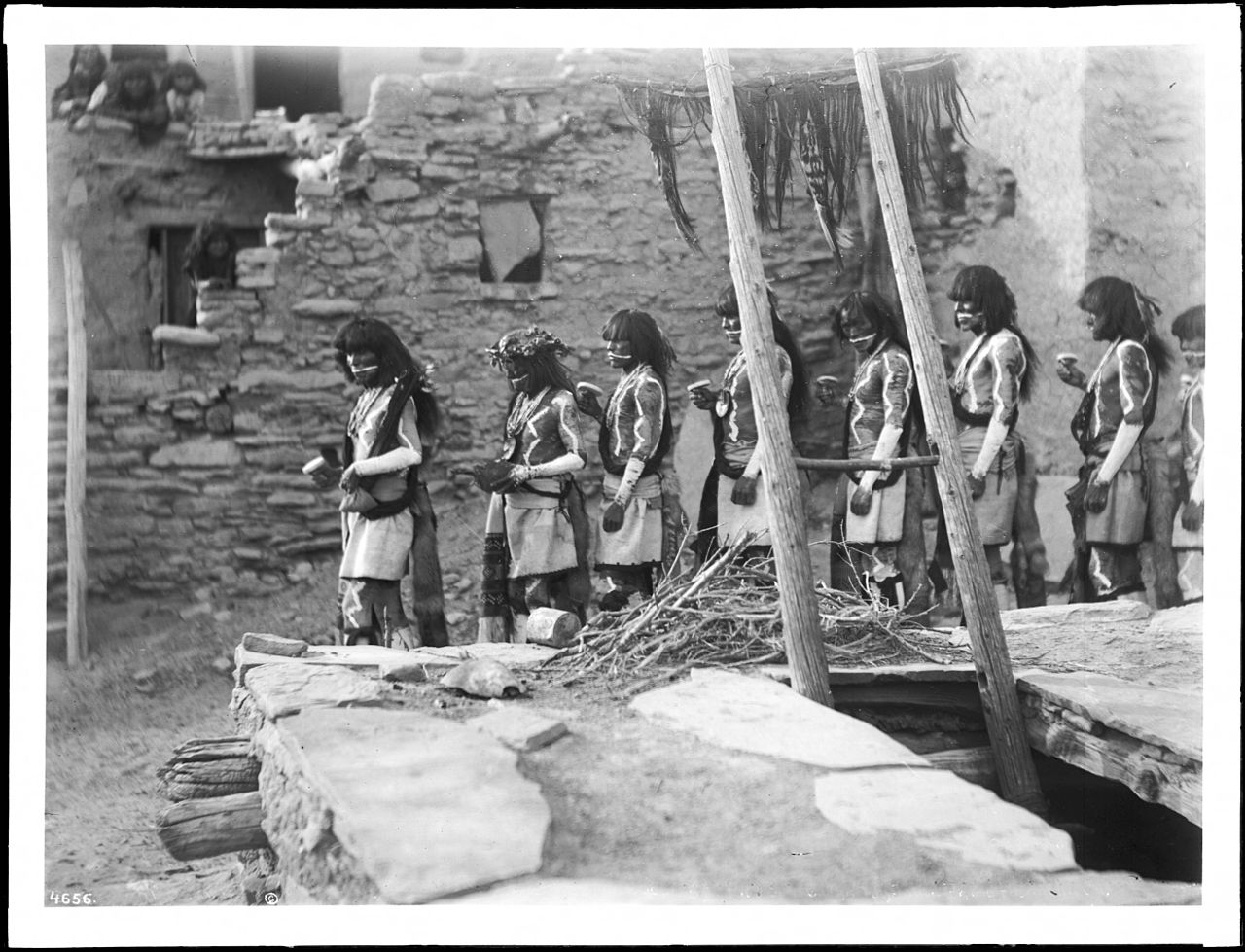 File Line Of Eight Antelope Priests Leaving The Kiva At