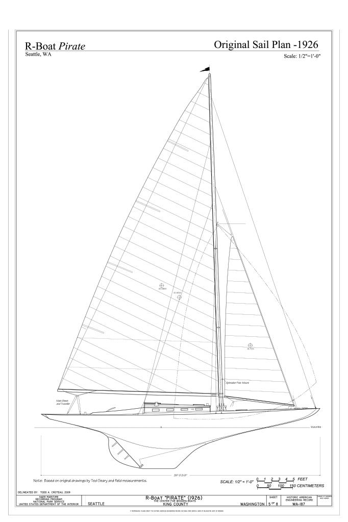 File R Boat Pirate Original Sail Plan 1926 R Boat