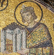 Constantinople   Wikipedia Emperor Constantine I presents a representation of the city of  Constantinople as tribute to an enthroned Mary and Christ Child in this  church mosaic