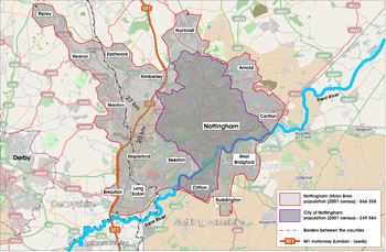 Nottingham Urban Area   Wikipedia Map featuring roads and county boundaries