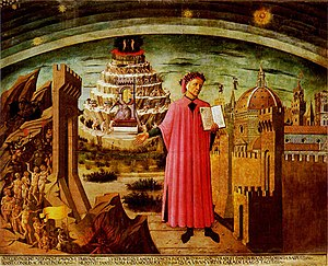 Divine Comedy   Wikipedia Dante shown holding a copy of the Divine Comedy  next to the entrance to  Hell  the seven terraces of Mount Purgatory and the city of Florence