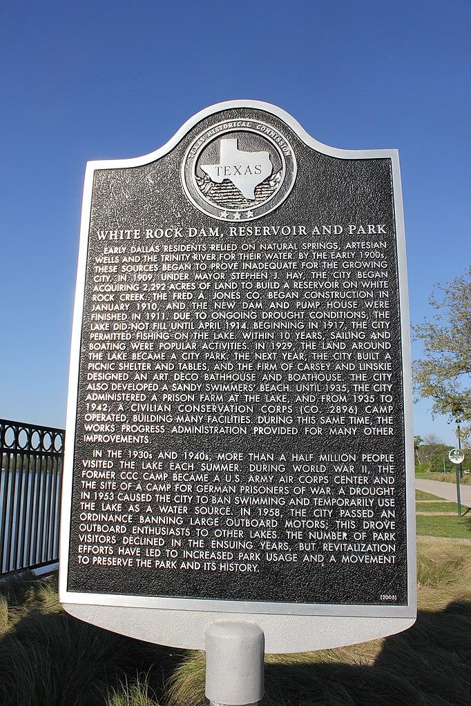 File White Rock Dam Reservoir And Park Dallas Texas Historical Marker 7367026710 Jpg