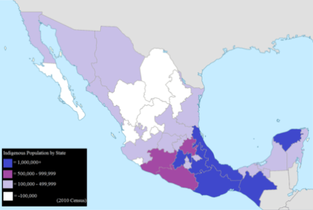 Indigenous peoples of Mexico   Wikipedia Mexican states by total indigenous population  2010