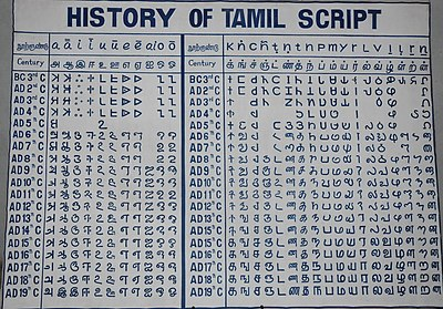 Tamil language   Revolvy Historical evolution of Tamil writing from the earlier Tamil Brahmi near  the top to the current Tamil script at bottom