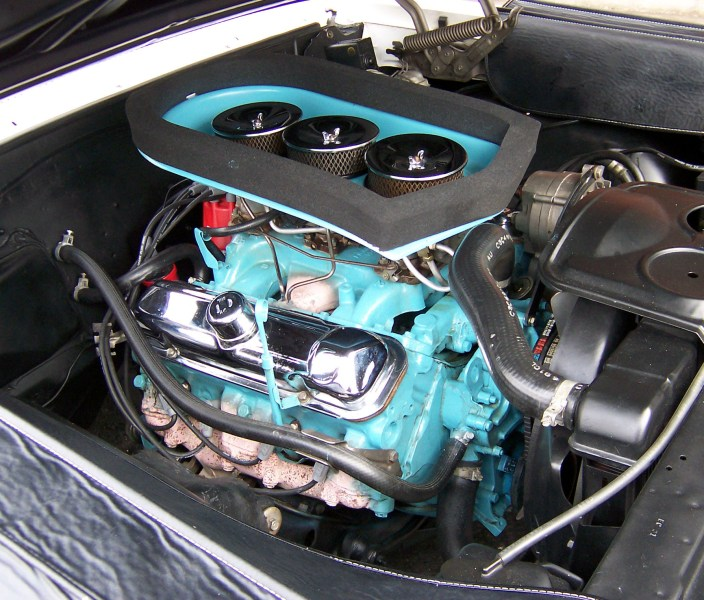 1965 pontiac cars » Pontiac V8 engine   Wikipedia Pontiac V8 engine with Tripower carburetor setup