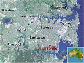 Hurstville  New South Wales   Wikipedia Location map of Hurstville based on NASA satellite images
