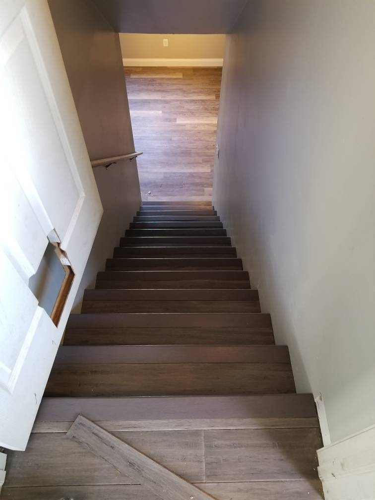 Engineered Wood On Stairs Flooring Contractor Talk   Engineered Oak Stair Treads   Hardwood Flooring   Red Oak   Wood   Modern Retro   Plywood