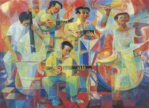 The musicians - Vicente Manansala - WikiArt.org
