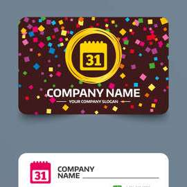 HD Decor Images » Business Card Template With Confetti Pieces  Calendar Sign Icon     Business card template with confetti pieces  Calendar sign icon  31 day  month symbol