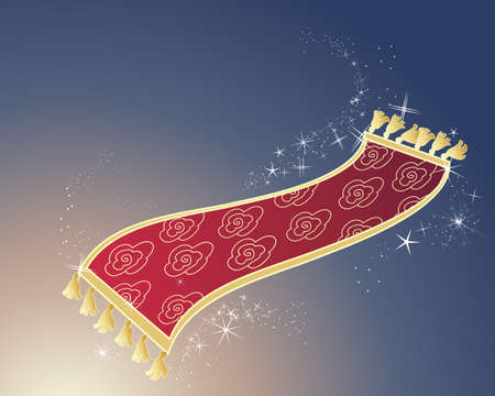 7 823 Magic Carpet Cliparts  Stock Vector And Royalty Free Magic     an illustration of a red and gold magic carpet on a dark background with  white sparkles