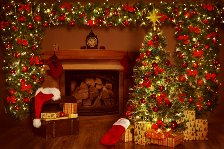 Christmas Room  Lighting Xmas Tree Fireplace Decoration In New      88907165   Christmas Fireplace and Xmas Tree  Presents Gifts Decorations  New  Year Home Interior Background