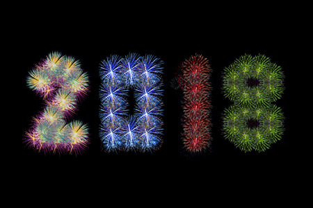 Colorful Fireworks Arranged As Year 2018 For Artwork Stock Photo     Colorful fireworks arranged as year 2018 for artwork Stock Photo   92407527