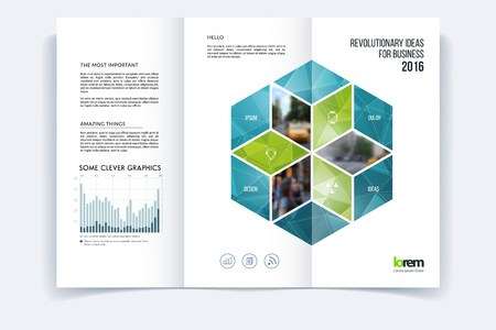 Tri fold Brochure Template Layout  Cover Design  Flyer In A4     Tri fold Brochure template layout  cover design  flyer in A4 with turquoise  rhombus