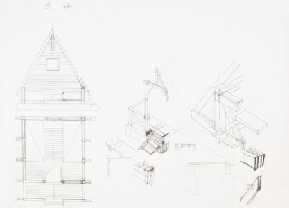Architectural Blueprint Of House With Attic  Drawn By Hand Stock      31664350   architectural blueprint of house with attic  drawn by hand