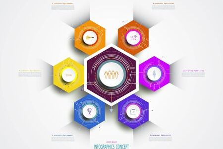 Abstract Info graphics Template Hexagon 6 Option Or Step  Business     Abstract info graphics template hexagon 6 option or step  business concept   Blank space