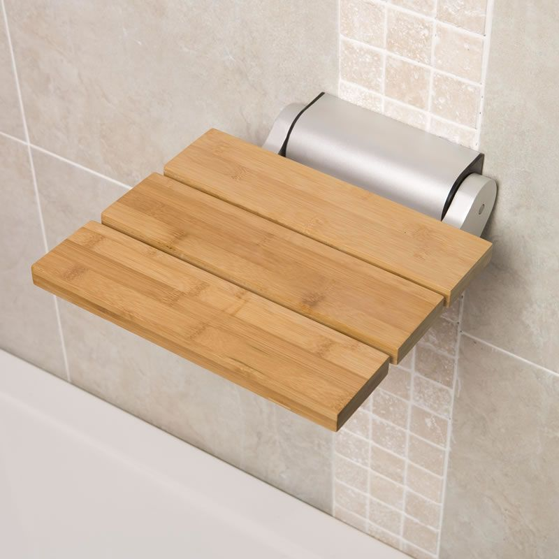 Bamboo Wood Folding Shower Seat Narrow Base