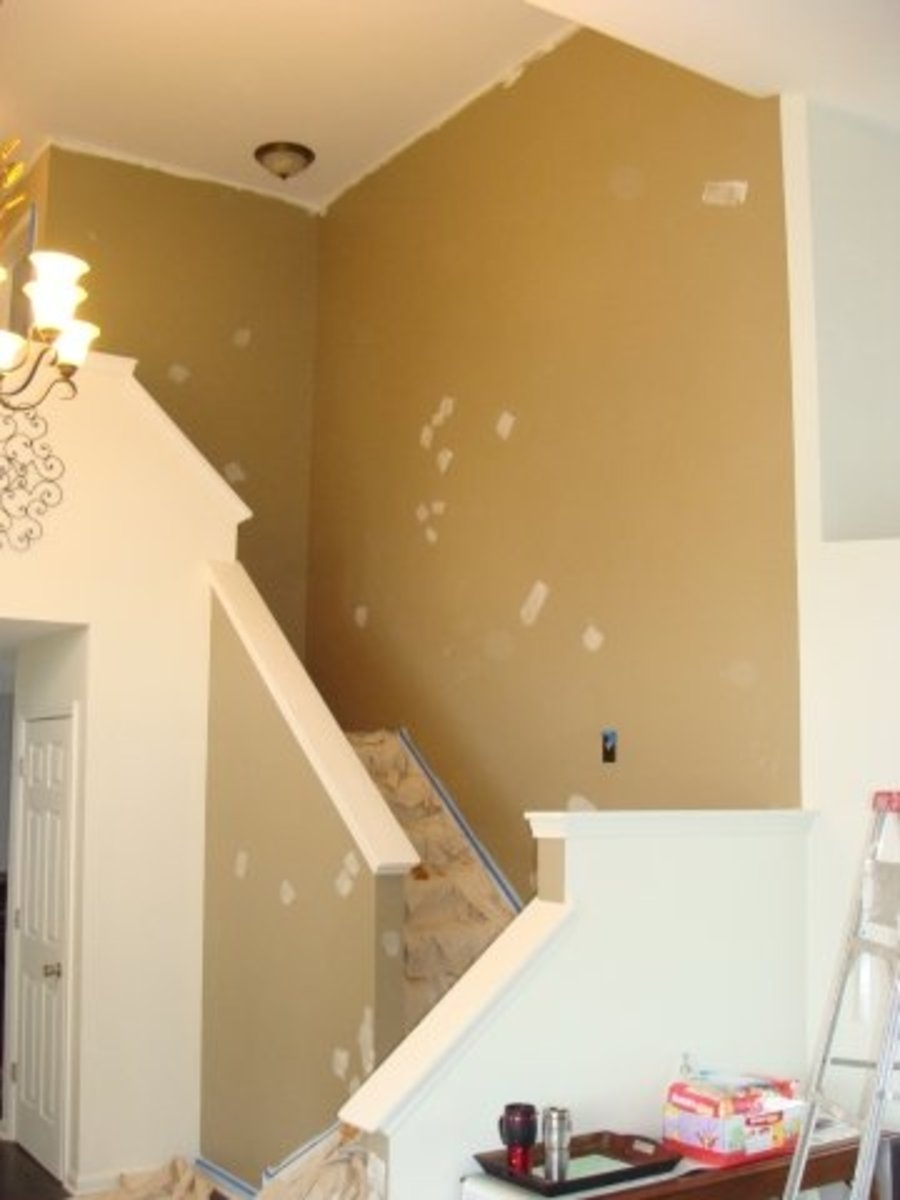 Tips For Painting Staircase Walls Dengarden | Stairs Wall Paint Design | Designer | Fancy | Beautiful | Staircase Railing Wood | Wall Colour