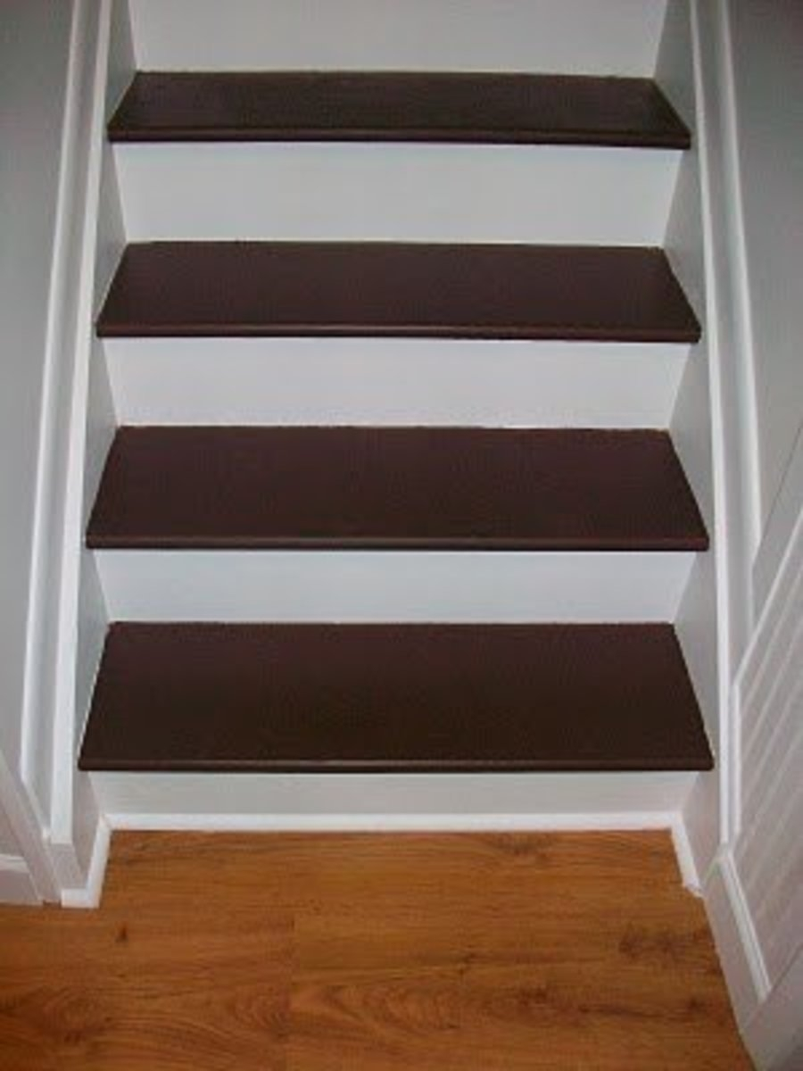 How To Paint And Refinish Your Stairs Dengarden Home And Garden | Wood And Painted Stairs | Diy | Before And After | Striped | Refinish | Oak