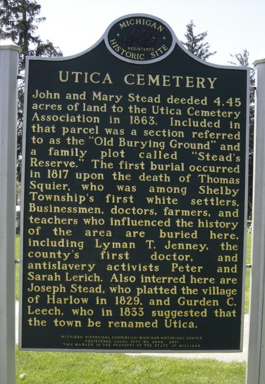 Utica Cemetery Headstones Shelby Township Macomb County