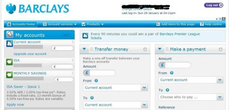 Barclays Online Personal Banking