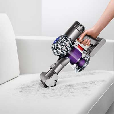 Using the Dyson V6 Animal Cord-free Vacuum to remove pet hair