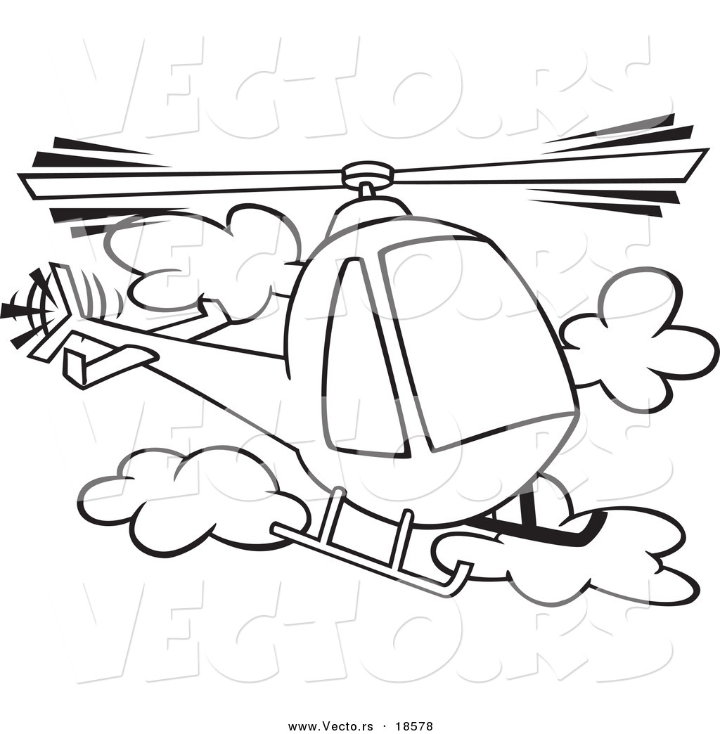 Vector Of A Cartoon Helicopter In The Clouds Outlined Coloring