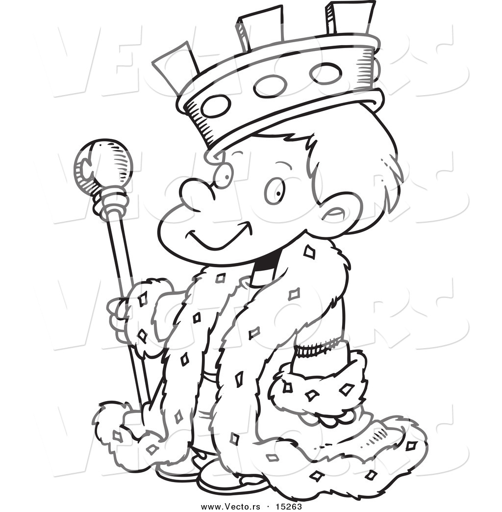Vector Of A Cartoon King Boy Coloring Page Outline By Toonaday