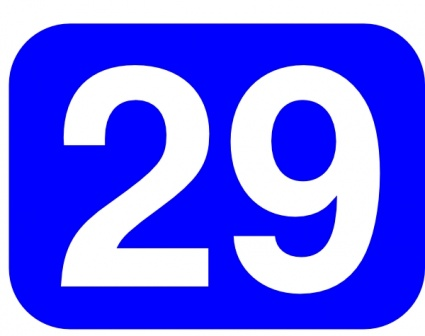 Blue Rounded Rectangle With Number 29 clip art vector ...