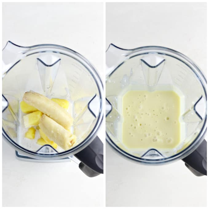 Two process photos of blending a pina colada smoothie.